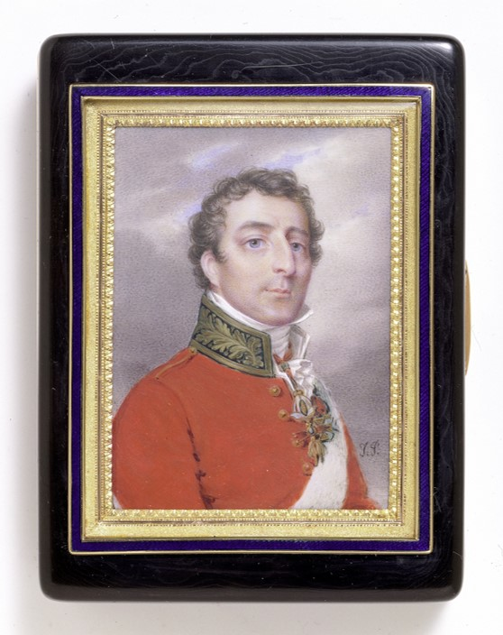 Miniature of Arthur Wellesley, 1st Duke of Wellington, mounted in gold on a tortoiseshell box, with maker's mark for A A Heguin, Post-Revolutionary Paris marks and marks for 1809-1819. V&A 904-1882