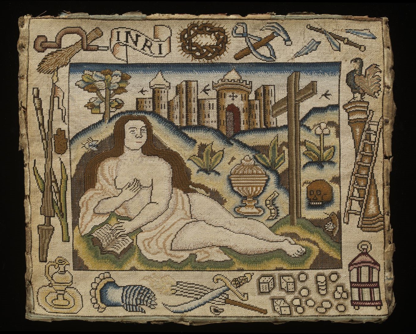 Embroidered picture of Mary Magdalene, English, 17th century. Museum no. T.57-2012 © Victoria and Albert Museum, London