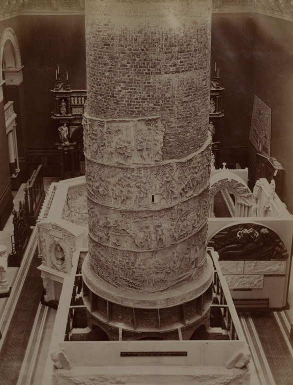 The original installation in the Cast Courts of the reproduction of Trajan's Column, around its brick core, ca. 1864 © Victoria and Albert Museum, London