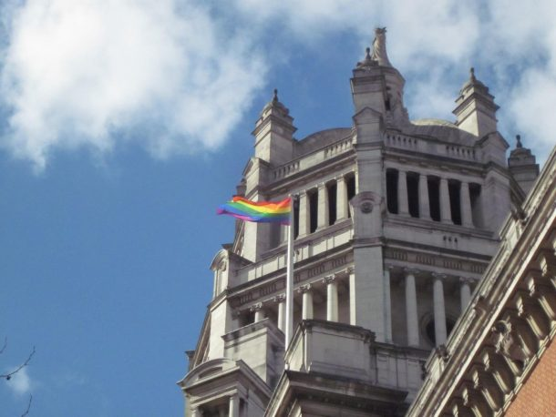 I was really pleased to see the rainbow flag fluttering above the Museum at lunchtime. As well as being visually very symbolic, it also really brought it home to me that the whole event was really happening!