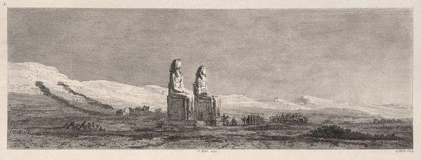 The Colossi of Memnon on the plains near Thebes, from Vivant Denon, Voyage dans la Basse et la Haute Égypte, (Paris 1802)