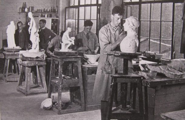 Cast makers working in the museum in the 1930's. The workshop was closed down in 1952. © Victoria and Albert Museum, London.