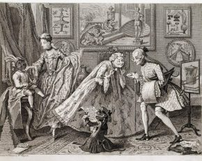 F.118:129 – engraving after William Hogarth, 'A Taste in High Life'. On display in gallery 58.