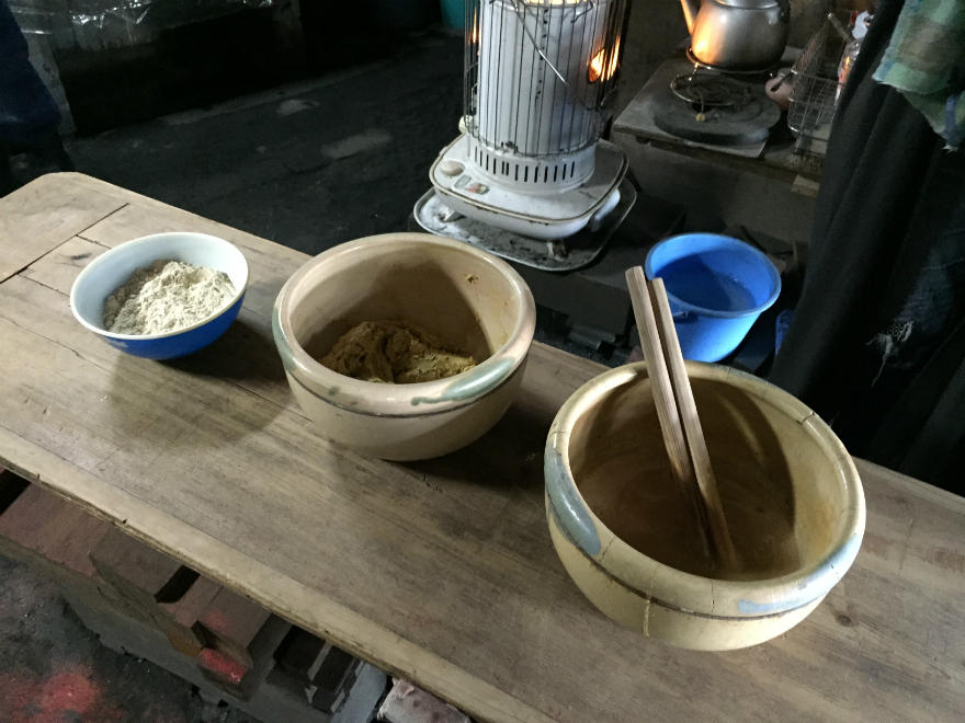 Making the rice paste