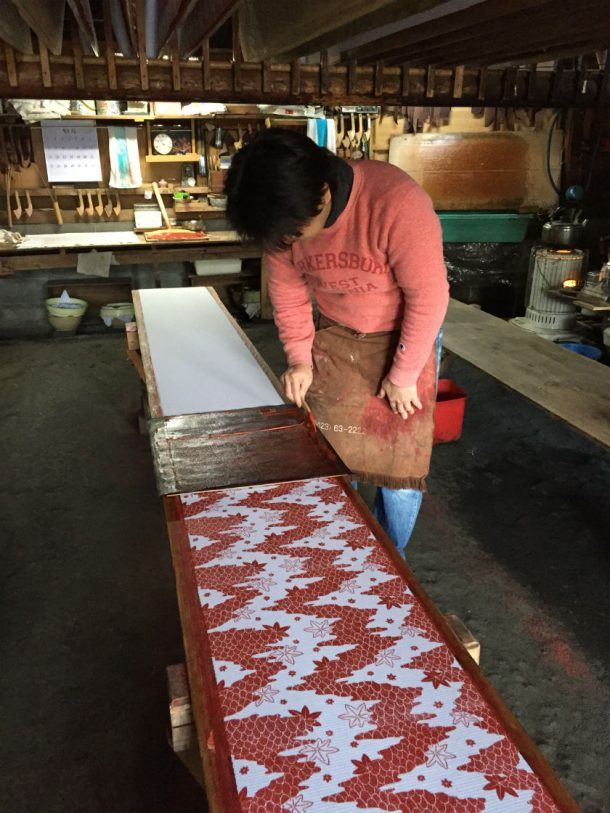 Applying paste to the fabric