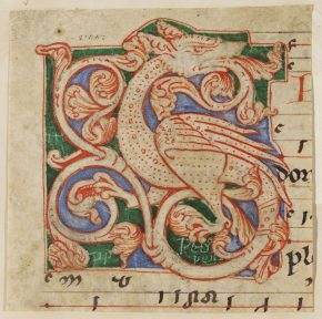 244:3, Leaf from choir-book with initial S in red pen-work on green and blue ground depicting a dragon. Netherland. late 12th century, © V&A Museum.