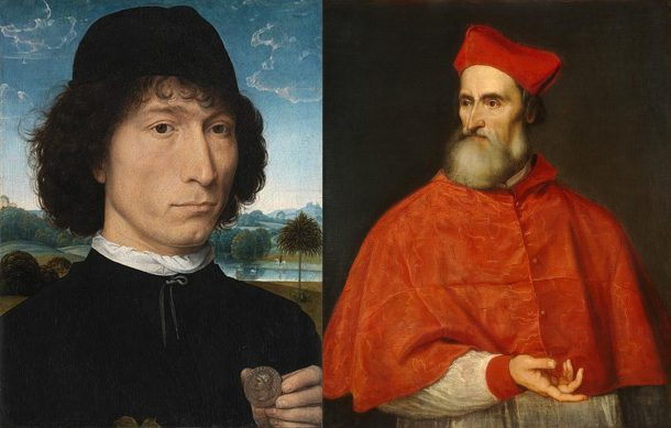 3.Father and Son. [Left] Hans Memling, Portrait of a Man with a Roman Medal (Bernardo Bembo?), oil on panel, ca.1480, Royal Museum of Fine Arts, Antwerp; [Right] Titian, Pietro Bembo, oil on canvas, ca.1540, National Gallery of Art, Washington