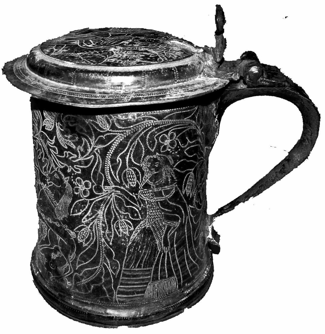 'Rolleston Tankard'. Image courtesy of Dr Julian Ellis, O.B.E., Church Warden, Holy Trinity Church, Rolleston, Nottinghamshire