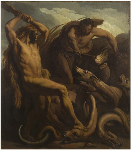 Oil painting depicting Hercules slaying the Hydra.