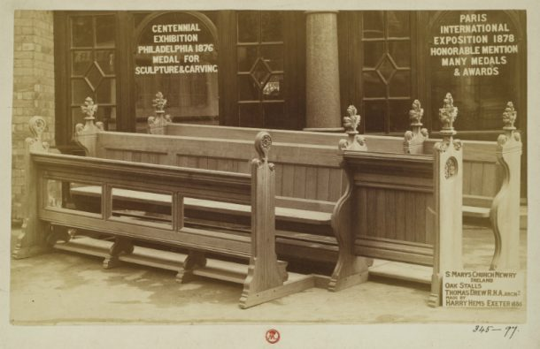 V&A: PH.345-1897. Photograph of oak stalls for St. Mary's Church, Newry, made by Harry Hems in 1886