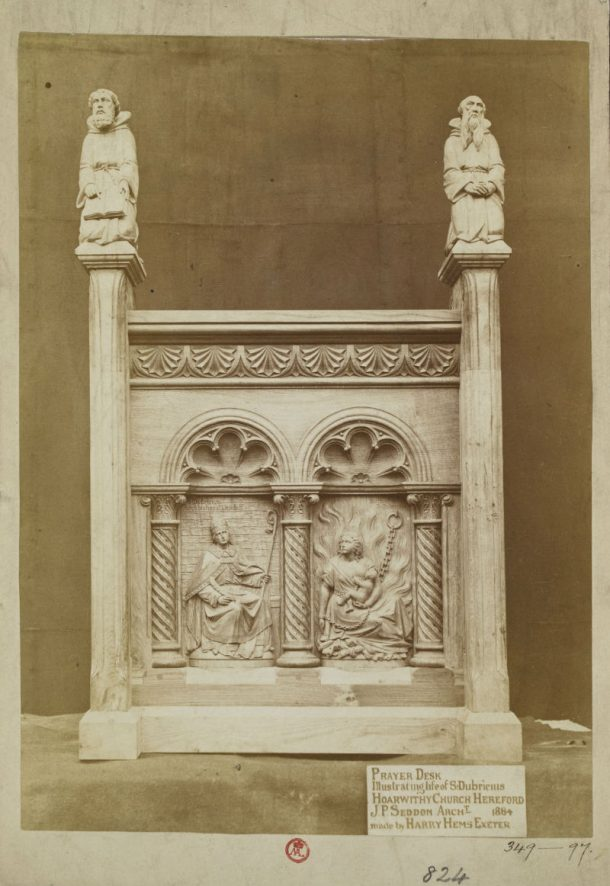 V&A: PH.349-1897. Photograph of a prayer desk for Hoarworthy Church, Hereford, made by Harry Hems in 1884