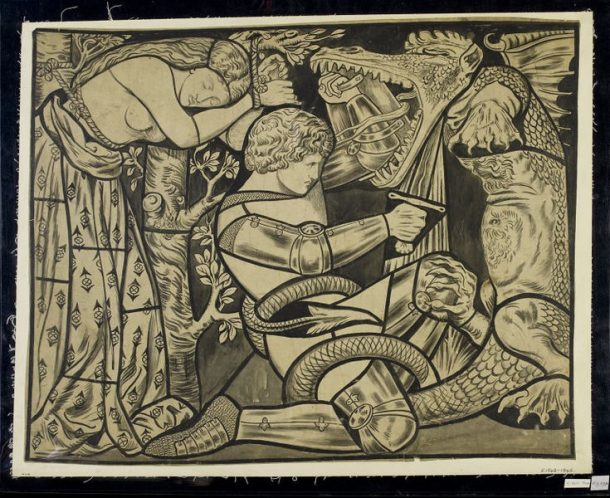 'St. George slaying the Dragon with Princess Sabra tied to a tree,' tracing of a cartoon for stained glass, Dante Gabriel Rossetti, 1861-1864. Museum no. E.1842-1946. © Victoria & Albert Museum.