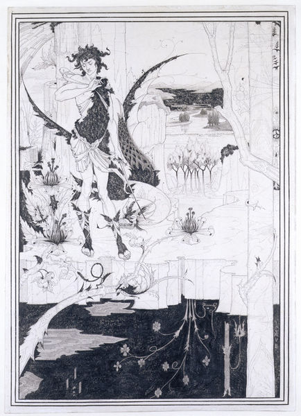 Drawing by Aubrey Beardsley depicting Siegfried in a forest beside a dragon.