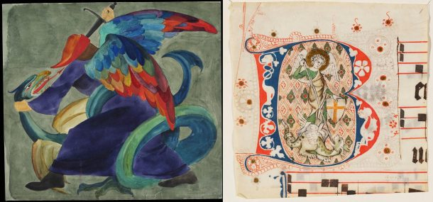 Design for woodwork showing a winged male figure slaying a dragon, C.F.A. Voysey, late 19th-early 20th century. Museum no. E.5184-1919. Cut-out historiated initial B from a Choirbook (St Michael killing the dragon), Netherlands, ca 1350. Museum no. 4031. All © Victoria & Albert Museum.