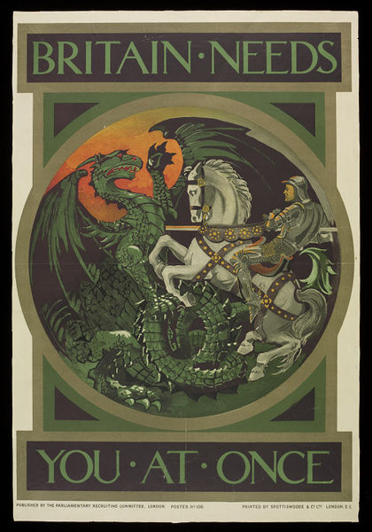 First World War recruitment poster depicting St George and the Dragon.