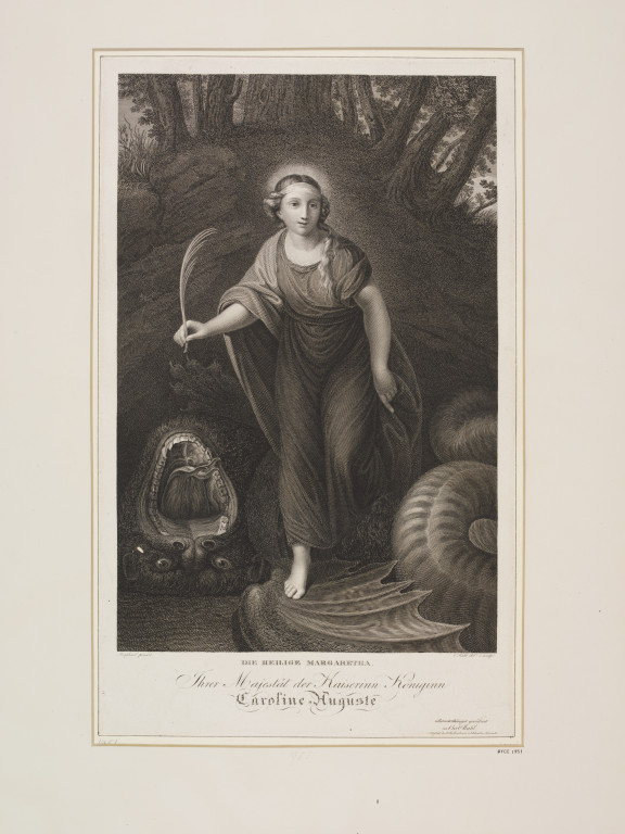 St. Margaret standing victorious over the dragon.