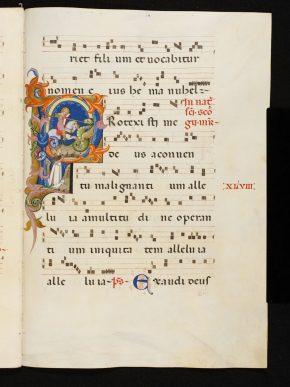 Msl/1868/5836, folio 48r, The Camaldolese Gradual, written in north Italy; illuminations attributed to Simone da Siena, ca. 1380. © V&A Museum.