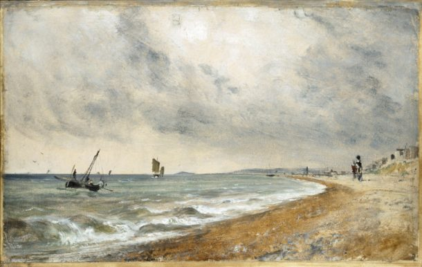 Oil sketch of Hove Beach by Constable, ca. 1824