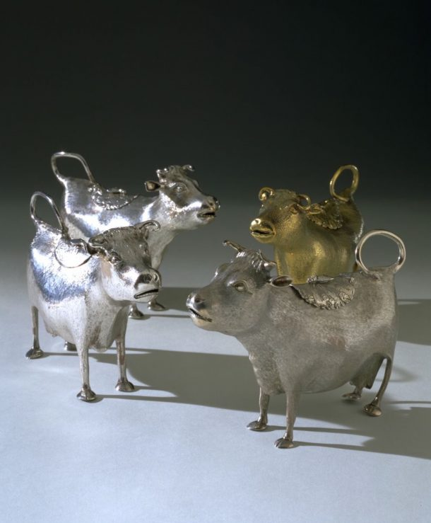 Cream jugs in the form of a cow silver, London, John Schuppe/David Willaume II, 1759–60/1753-54) (M.1687-1944)