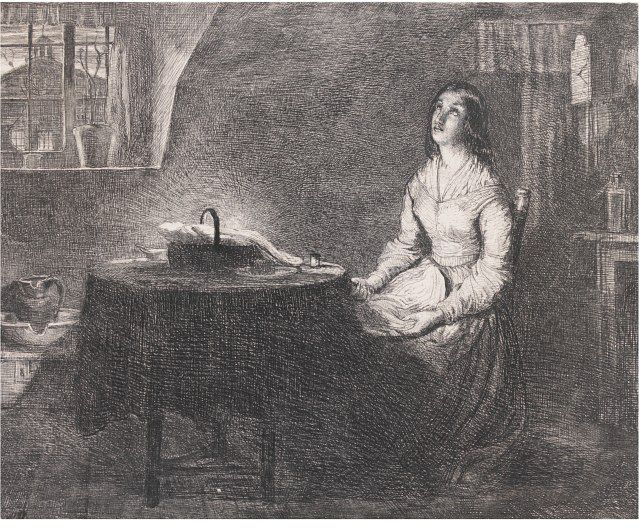 The Song of The Shirt, etching on paper by Richard Redgrave, c.1845