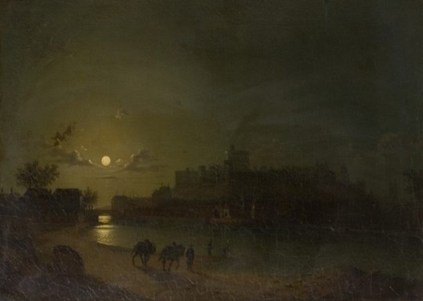 Oil painting, 'Windsor Castle and Town by Moonlight'