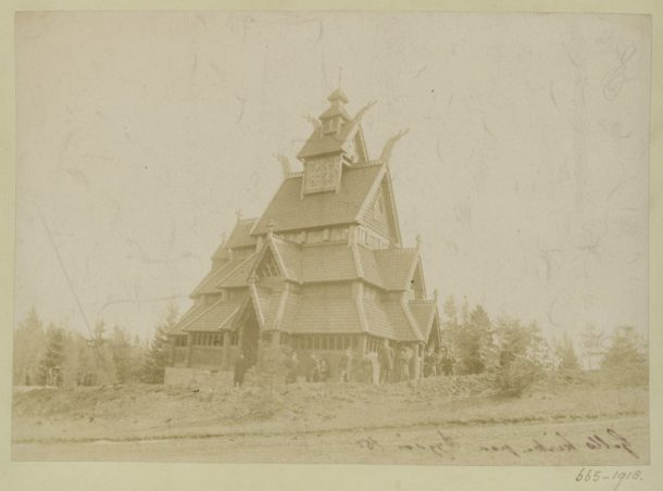 665-1918 Photograph Photograph depicting an exterior view of Gol Stave Church, now in the Norsk Folkemuseum in Oslo. This twelfth century church was moved to its current site in the early 1880's, and it is possible that this photograph was taken to commemorate completion of the move. Norway C.1885 Albumen print