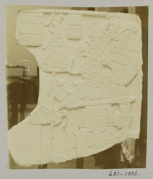 PH.621-1886 Albumen print from a gelatin dry plate negative. Photograph of a plaster cast of a bas-relief from Palenque in Mexico.