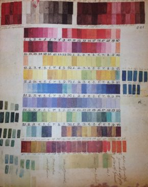 Colour chart (c.1770s) found in the Archives of the Botanical Gardens in Madrid in1999 and likely to have been used by the Bauer brothers © Archivo del Real Jardín Botánico, CSIC, Madrid.