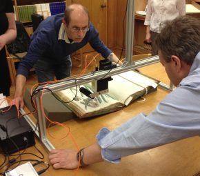 Professor Andy Beeby from Durham University setting up the portable Raman spectrometer, designed and built at Durham, to analyse the red pigment used on one of Bauer's paintings © Bodleian Library, University of Oxford