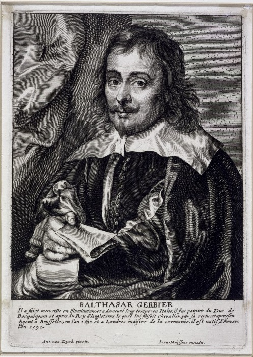 Engraved portrait of Sir Balthazar Gerbier, engraving by J. Meijssens after Antony van Dyck (1599 - 1641); 17th century. Museum no. E.1298-1888 © Victoria and Albert Museum, London.