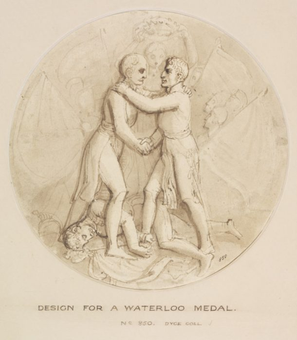 Design for a Waterloo medal, drawn with pen and washed with bistre, Thomas Stothard, English School, early 19th century. V&A DYCE.850