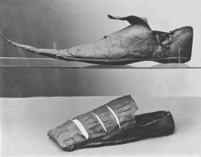 T.391-1913; T.413-1913 Shoe Probably Spain 1800-1899 Leather Shoe Shoe of slashed leather with a modest horned toe. Probably London 1520s - 1540s Hand-sewn tanned leather