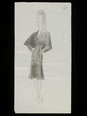 Design by Antonio del Castillo for the House of Paquin, Paris, early 1944.