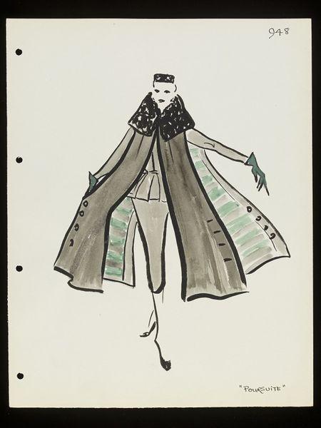 'Poursuite'. Design for a skirt suit and coat by Lou Claverie for Paquin, Paris, mid-1950.