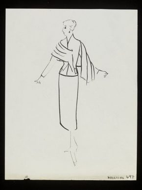 """""""Martial."""" Design for a skirt suit by Alan Graham, Winter 1953-54"""