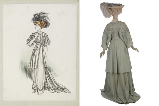 'Sybille.' Design by Jeanne Paquin, early 1907, E.1429-1957; and original 'Sybille' ensemble, T.73 to C-1967.