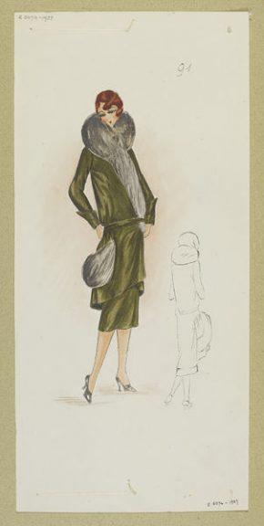 Design by Madeleine Wallis for Paquin, Paris, Winter 1928-29. E.5074-1957