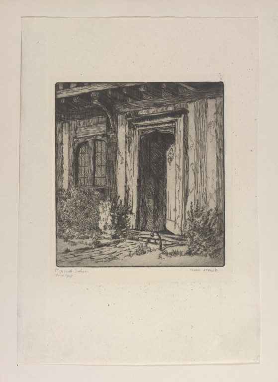 "S.948-2014 Print Lithograph Print of an original sketch showing the main entrance to the home of the actress Ellen Terry (1847-1928) at Smallhythe Place, Kent. It is signed by the artist, Clare Atwood (1866-1962) and dated 1925. Handwritten pencil annotation dedicates the print to ""Gabrielle Enthoven, Xmas 1925"" Clare Atwood (1866-1962) Kent 1925 Printed"
