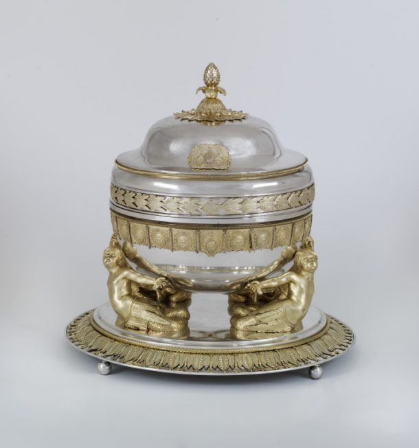 WM.644:1-1997; WM.644:2-1997; WM.644:3-1997; WM.644:4-1997 Tureen Round silver tureen with cover and lidded liner, 'Portuguese Service', designed by Domingos António de Sequeira, made in Lisbon, 1813-1816 Domingos António de Sequeira (1768-1836) Lisbon (city) 1814 Silver gilt Tureen Round silver tureen with cover and lidded liner, 'Portuguese Service', designed by Domingos António de Sequeira, made in Lisbon, 1813-1816 Domingos António de Sequeira (1768-1836) Lisbon (city) 1814 Silver gilt Tureen Round silver tureen with cover and lidded liner, 'Portuguese Service', designed by Domingos António de Sequeira, made in Lisbon, 1813-1816 Domingos António de Sequeira (1768-1836) Lisbon (city) 1814 Silver gilt Tureen Round silver tureen with cover and lidded liner, 'Portuguese Service', designed by Domingos António de Sequeira, made in Lisbon, 1813-1816 Domingos António de Sequeira (1768-1836) Lisbon (city) 1814 Silver gilt
