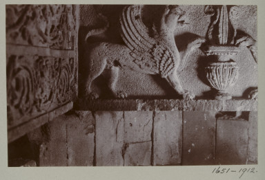 1651-1912 Photograph Photograph depicting a detail of a lintel in room 10 of the summer palace at Hatra, Iraq. Iraq