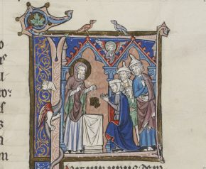 8986e, leaf from a large Bible (now known as the Glazier-Rylands Bible), initial F with Hannah kneeling at an altar, from the First Book of Kings of the Old Testament. Belgium (possibly), 13th century. © V&A Museum.