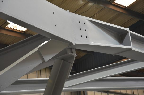 Part of 'Truss 6' which will form the structure for the gallery roof and courtyard