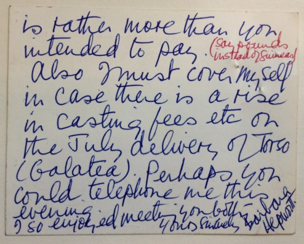 Note from Barbara Hepworth to Carol Hogben