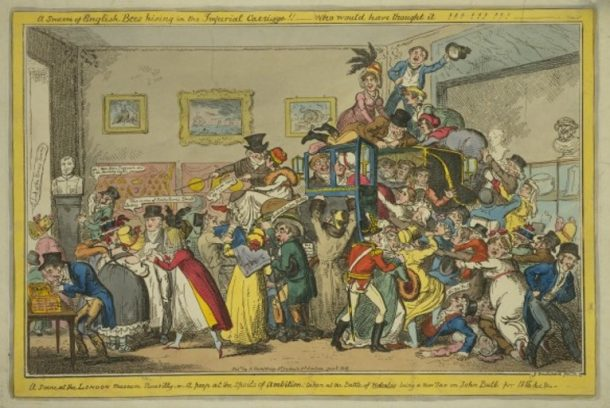 A Scene at the London Museum Piccadilly, coloured etching, George Cruikshank, London, 1816. V&A E.1187-1990