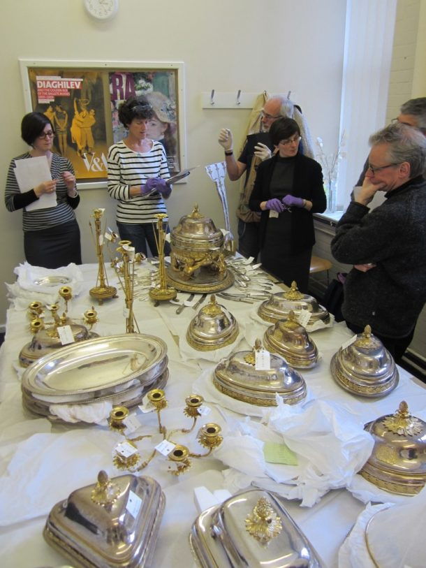 Discussing the display of the extensive service - not planning a dinner party!