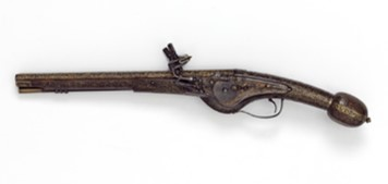 Double barrelled wheel lock pistol, from the Cabinet d'Armes of Louis XIII of France, early 17th century. V&A M.13-1923
