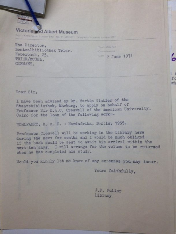 Letter from J.P Fuller, NAL, to German Central Library, 2 June 1971, AAD MA/37/5/22