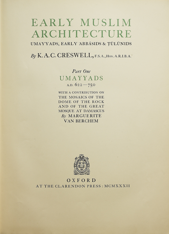 Title page from Creswell's Early Muslim Architecture, vol. 1, 1932