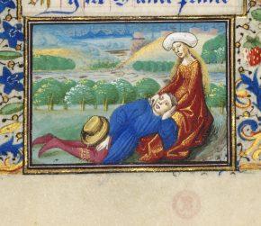 MSL/1910/2385, Book of Hours (the Margaret de Foix Hours) showing calendar illustration for April. France, ca. 1470. © V&A Museum.