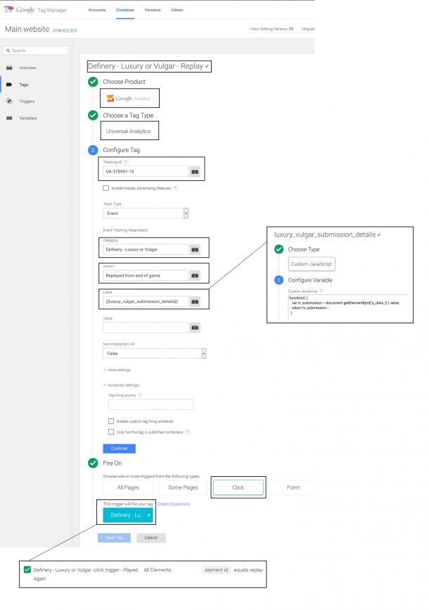 Google Tag Manager - a tag screen
